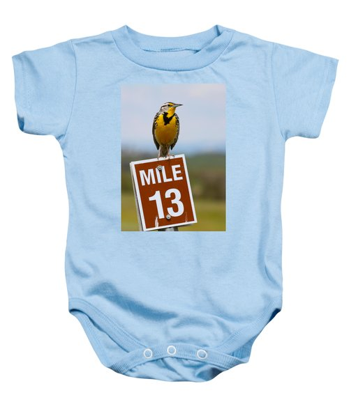 Western Meadowlark On The Mile 13 Sign Baby Onesie by Karon Melillo DeVega