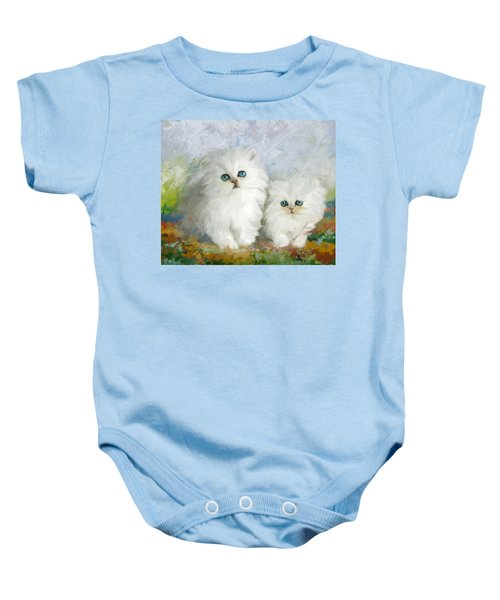 White Persian Kittens  Baby Onesie by Catf