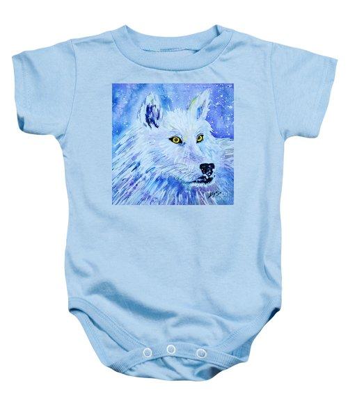 White Wolf - Aurora Nights In Blues - Square Baby Onesie
