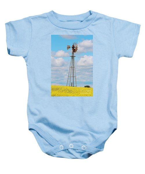 Windmill In Canola Field Baby Onesie