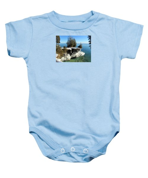Winter At Cave Point Baby Onesie