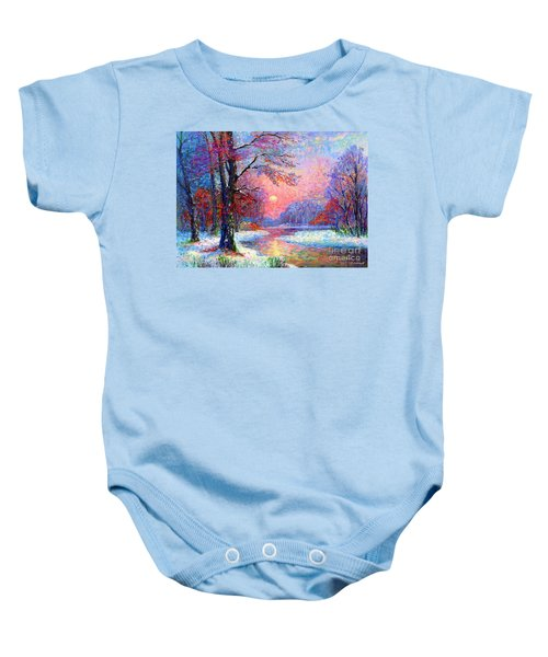 Winter Nightfall, Snow Scene  Baby Onesie
