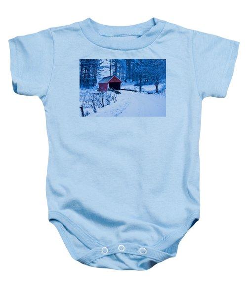winter Vermont covered bridge Baby Onesie