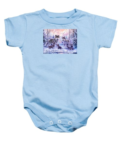 Winter Wolf Family  Baby Onesie