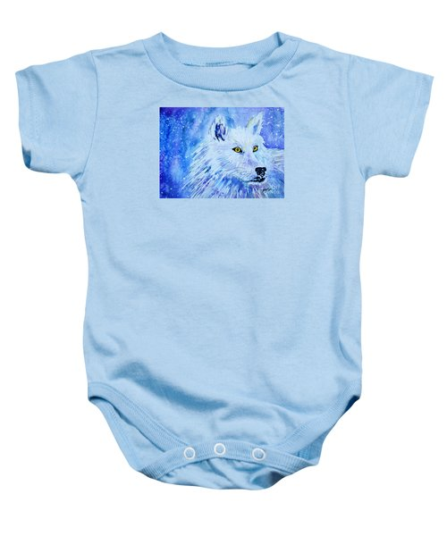 Wolf - White Wolf - Aurora Nights In Blues Baby Onesie