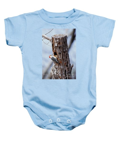 Woodpecker And Starling Fight For Nest Baby Onesie by Gregory G. Dimijian