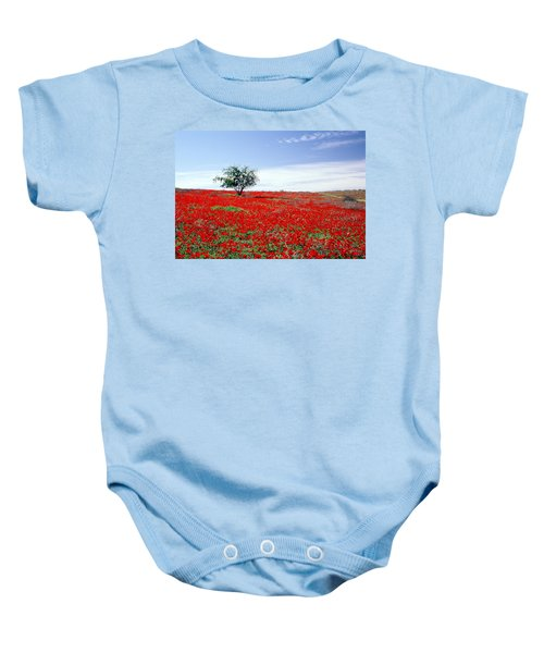 A Tree In A Red Sea Baby Onesie