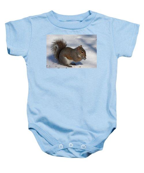 Gray Squirrel On Snow Baby Onesie