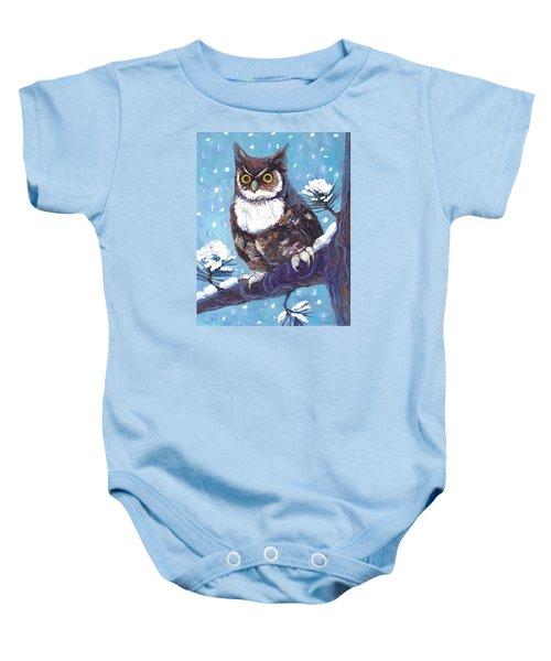 Horned Owl In Snow Baby Onesie