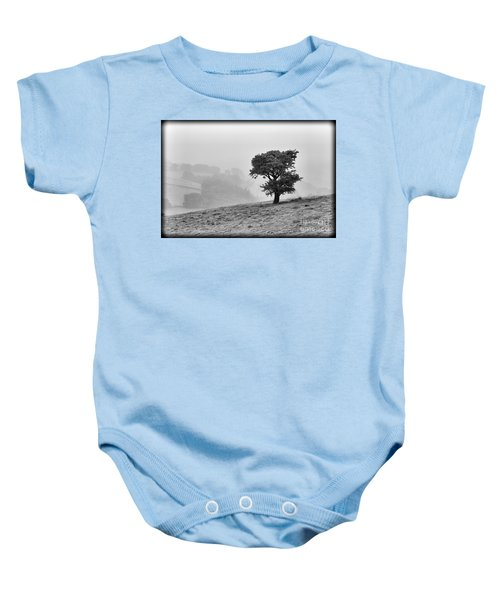 Baby Onesie featuring the photograph Oak Tree In The Mist. by Clare Bambers