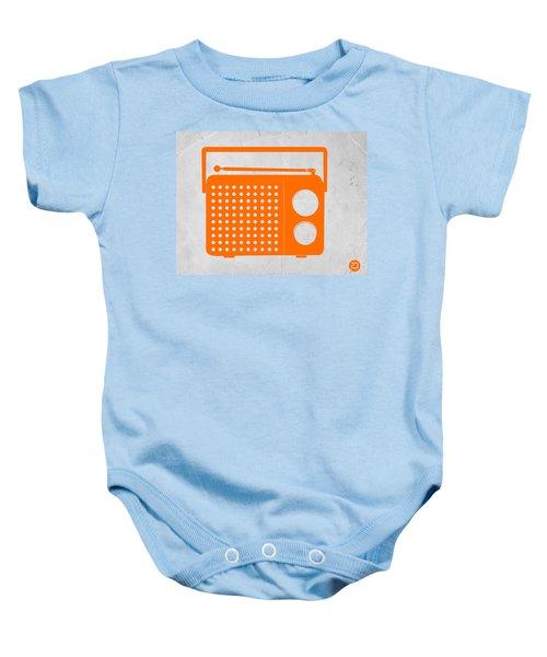 Orange Transistor Radio Baby Onesie
