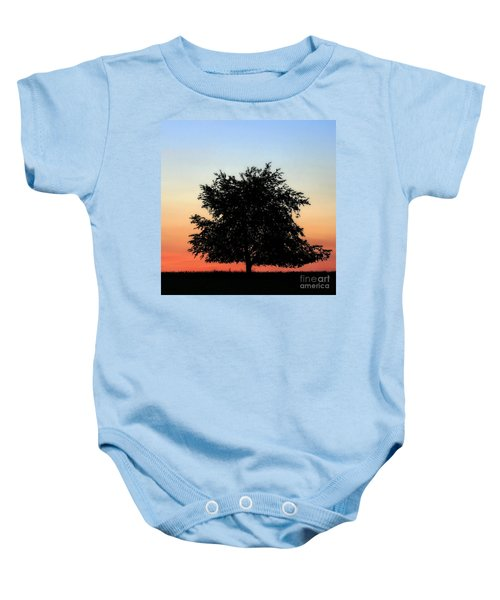Make People Happy  Square Photograph Of Tree Silhouette Against A Colorful Summer Sky Baby Onesie