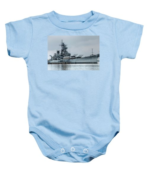 Baby Onesie featuring the photograph Uss New Jersey by Jennifer Ancker