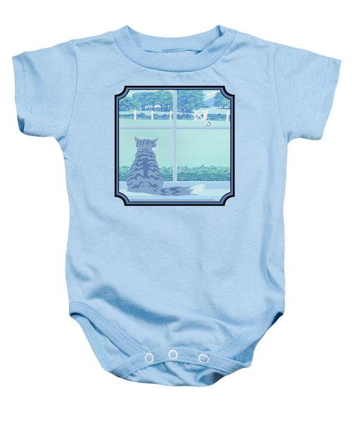 Abstract Cats Staring Stylized Retro Pop Art Nouveau 1980s Green Landscape - Square Format Baby Onesie