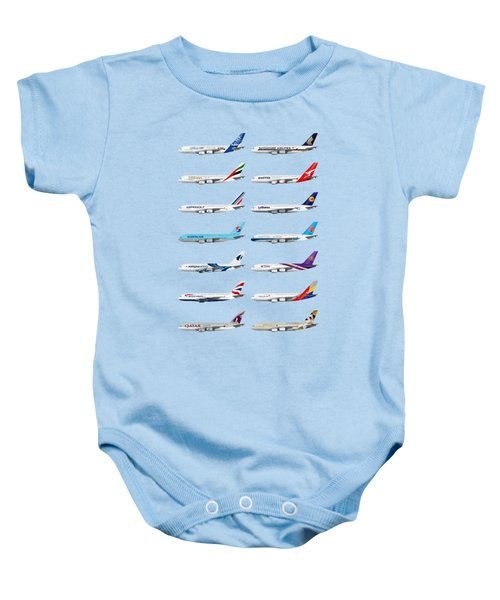 Airbus A380 Operators Illustration - Blue Version Baby Onesie