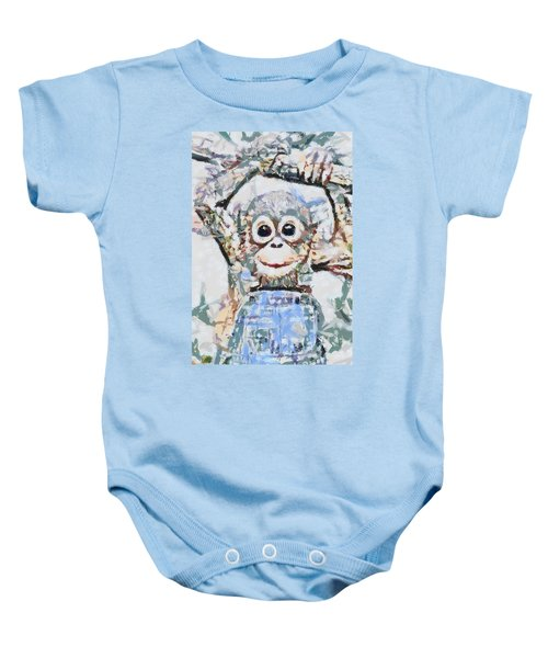 Monkey Rainbow Splattered Fragmented Blue Baby Onesie