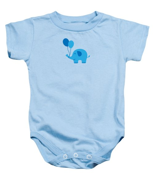 Sweet Funny Baby Elephant With Balloons Baby Onesie