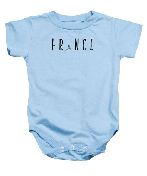 France Typography Panoramic Baby Onesie