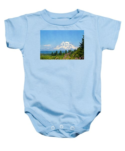 Mount Rainier Watercolor Baby Onesie