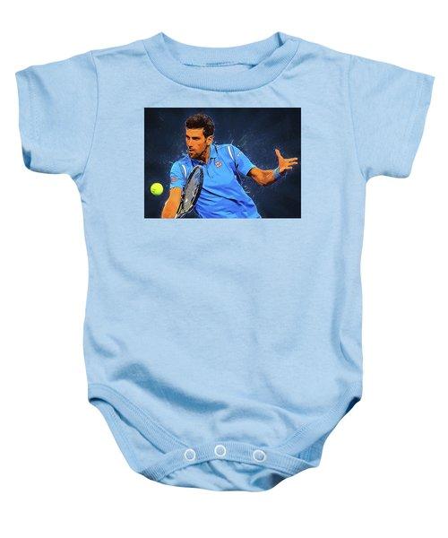 Novak Djokovic Baby Onesie by Semih Yurdabak