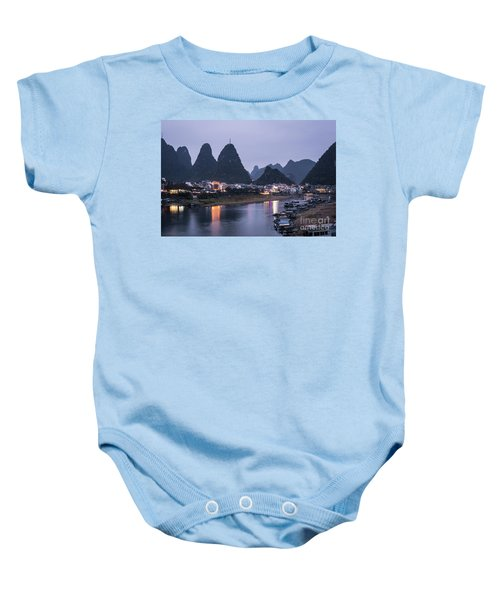 Twilight Over The Lijang River In Yangshuo Baby Onesie