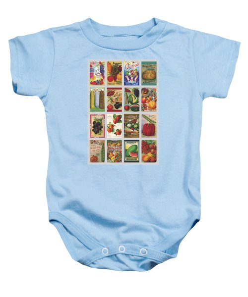 Vintage Farm Seed Packs Baby Onesie