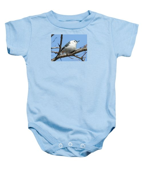 White-breasted Nuthatch Baby Onesie by Ricky L Jones