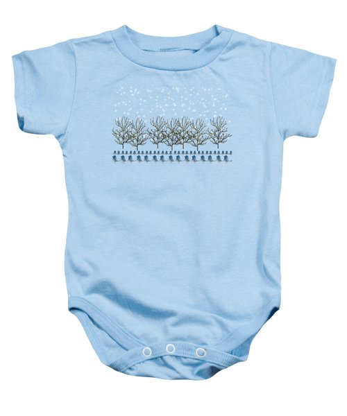 Winter Bluebirds In The Snow Baby Onesie by Anne Kitzman