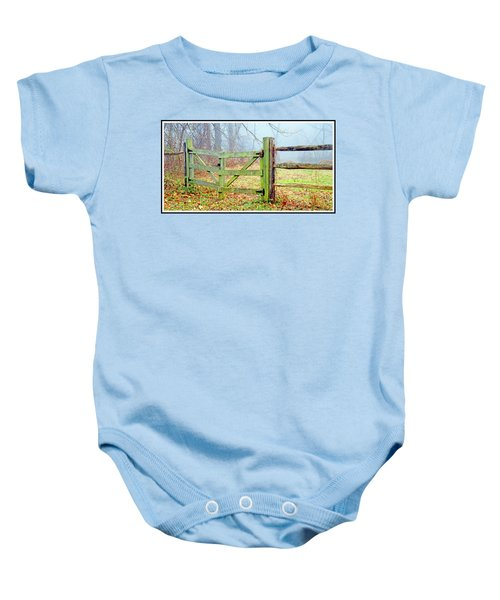Wooden Fence On A Foggy Morning Baby Onesie