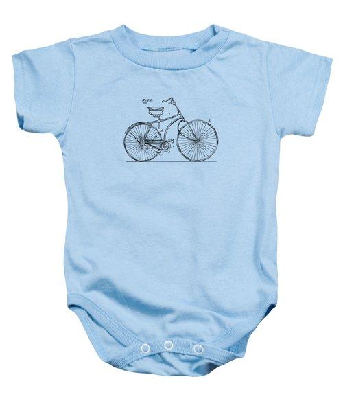 1890 Bicycle Patent Minimal - Vintage Baby Onesie