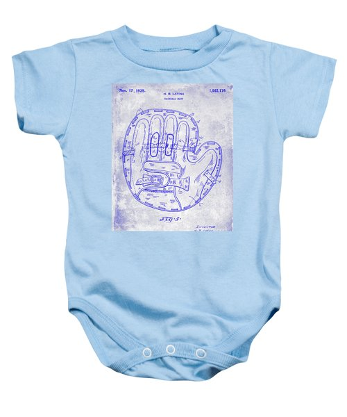 1925 Baseball Glove Patent Blueprint Baby Onesie
