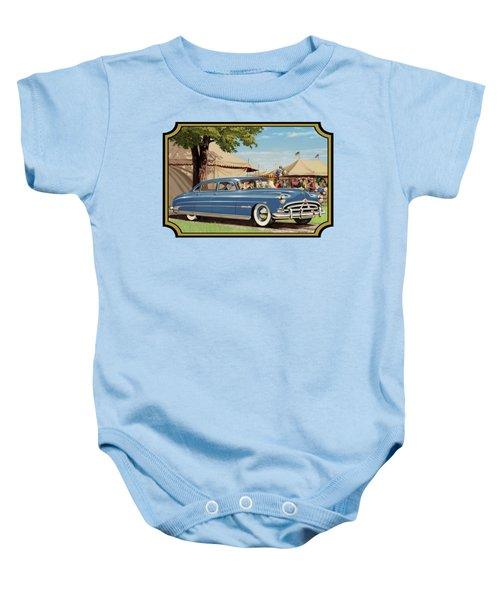 1951 Hudson Hornet Fair Americana Antique Car Auto Nostalgic Rural Country Scene Landscape Painting Baby Onesie