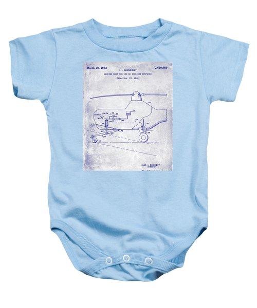 1953 Helicopter Patent Blueprint Baby Onesie by Jon Neidert