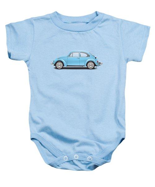 1972 Volkswagen Super Beetle - Marina Blue Baby Onesie by Ed Jackson