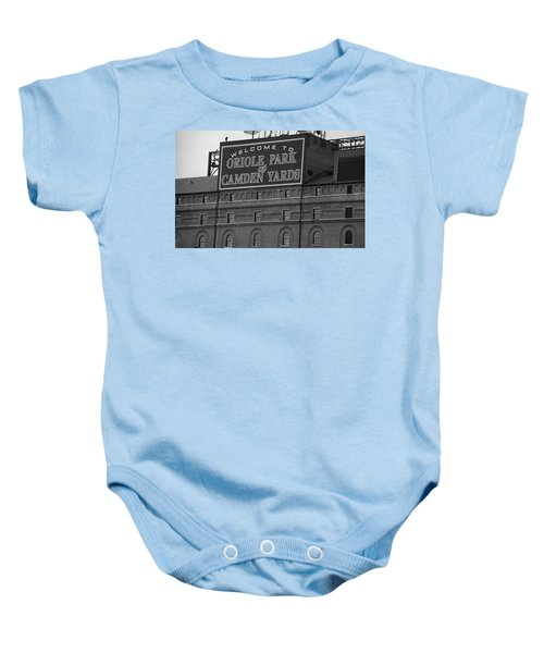 Baby Onesie featuring the photograph Baltimore Orioles Park At Camden Yards Bw by Frank Romeo