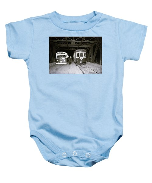 207th Street Crosstown Trolley Baby Onesie by Cole Thompson