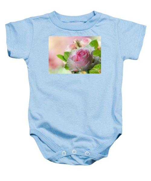 Baby Onesie featuring the mixed media A Beautiful Rose by Morag Bates