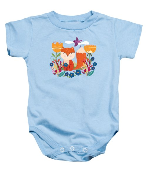 A Fox In The Flowers With A Flying Feathered Friend Baby Onesie