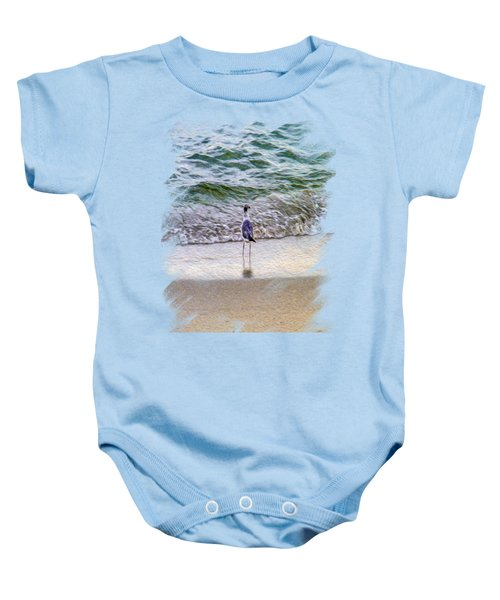 A Seagull Looking Out To Sea Baby Onesie