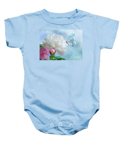 Baby Onesie featuring the mixed media A Soft Landing by Morag Bates