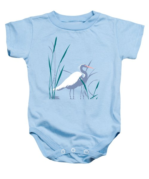 abstract Egret graphic pop art nouveau 1980s stylized retro tropical florida bird print blue gray  Baby Onesie by Walt Curlee