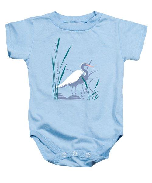 abstract Egret graphic pop art nouveau 1980s stylized retro tropical florida bird print blue gray  Baby Onesie