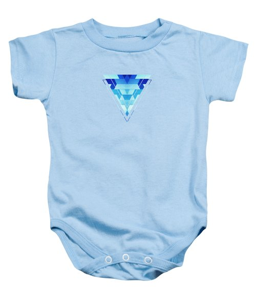 Abstract Geometric Triangle Pattern Futuristic Future Symmetry In Ice Blue Baby Onesie