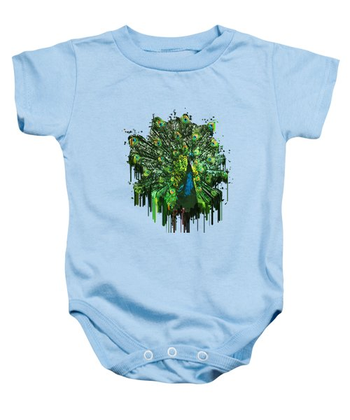 Abstract Peacock Acrylic Digital Painting Baby Onesie