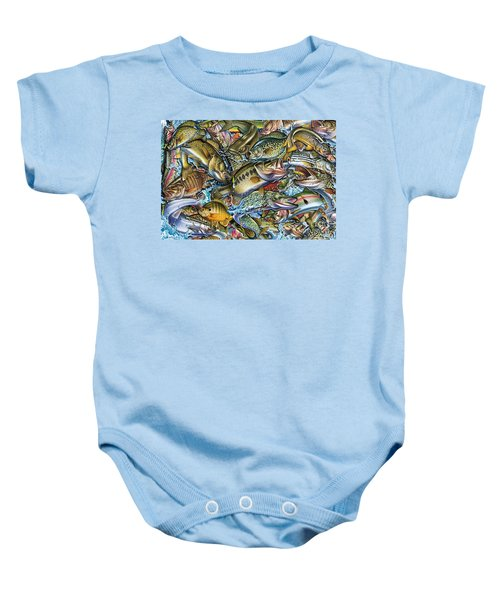 Action Fish Collage Baby Onesie