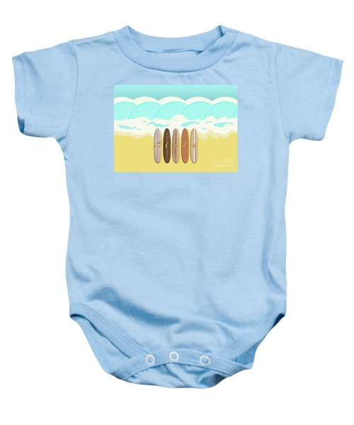 Aloha Surf Wave Beach Baby Onesie