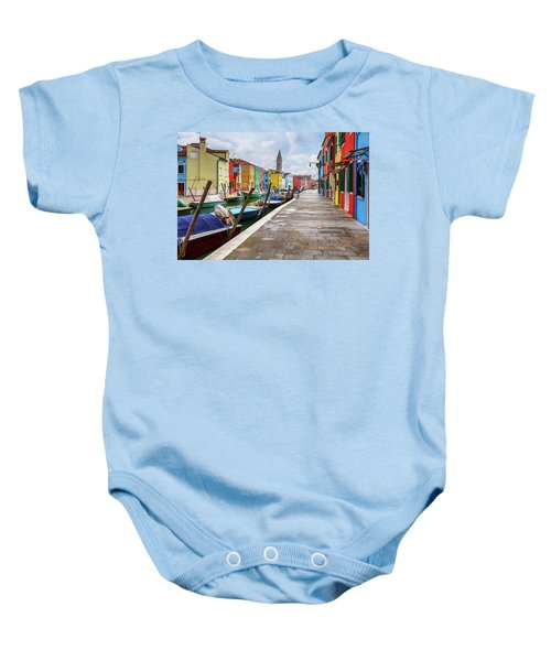 Along The Canal In Burano Island Baby Onesie
