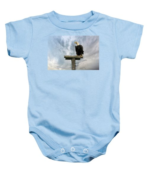 American Bald Eagle Perched On A Pole Baby Onesie