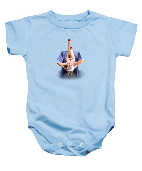 Baby Onesie featuring the photograph American Pinup Woman Upside Down On Cane Chair by Jorgo Photography - Wall Art Gallery