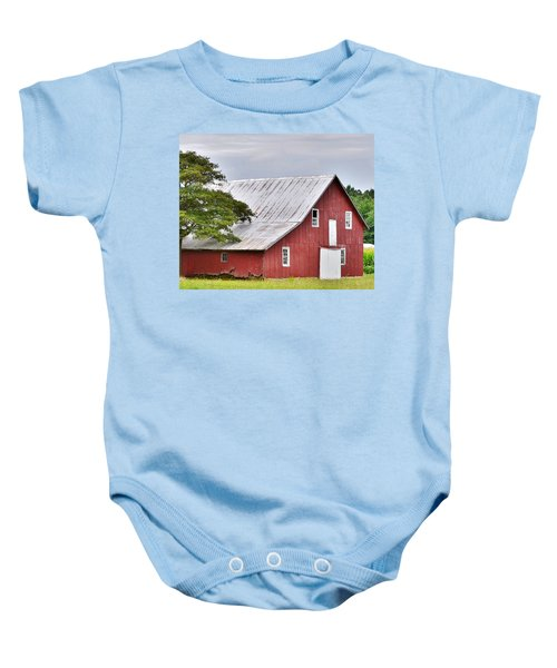 An Old Red Barn Baby Onesie
